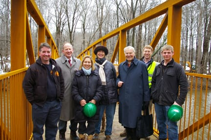 First Pedestrians on Stony Brook Bridge