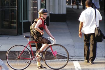 bicyclist and pedestrian