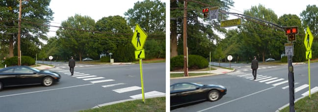 Sherbrooke Crosswalk with and without Hawk