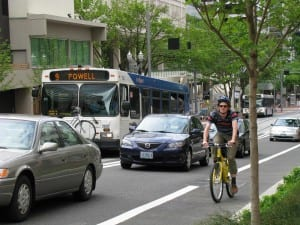 Bike, bus and traffic