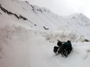 crossing a snowy mountain pass