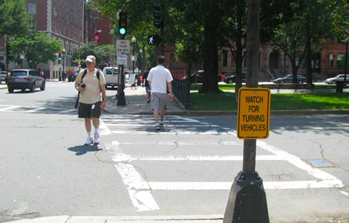 pedestrian crosswalk in Boston
