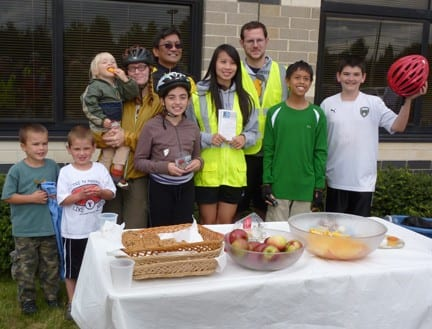 Winners of the free drawing at the WWBPA's Community Bike Ride