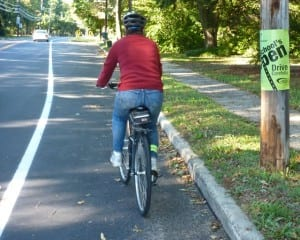 Cyclist on widened Clarksville Road shoulder