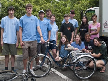 Students at bike collection